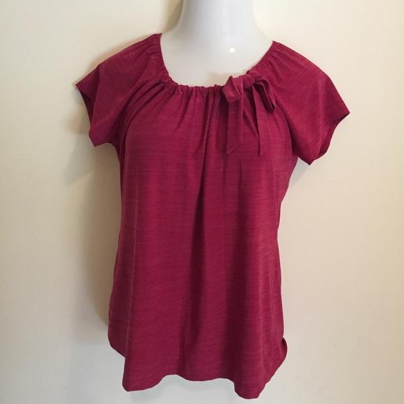 1bb6b4ee Liz McCoy Women's Blouse Red XL Cap Sleeve